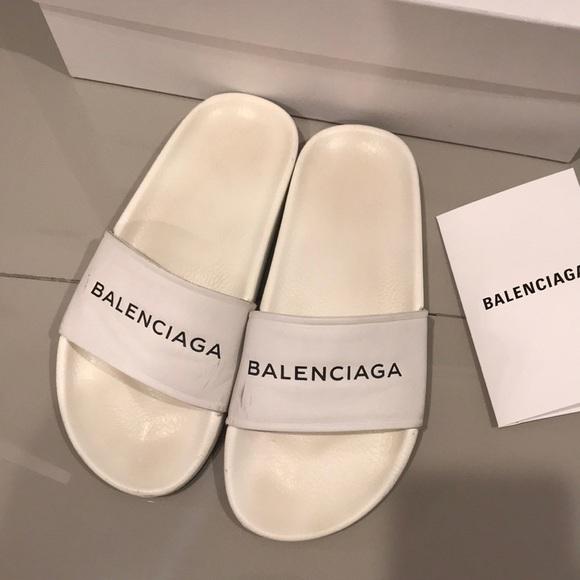 white balenciaga slides
